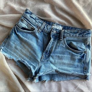 Free People Raw Hem High Rise Button Fly Shorts